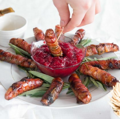 Easy Bacon Appetizers - Honey Bourbon Pigs in Blankets