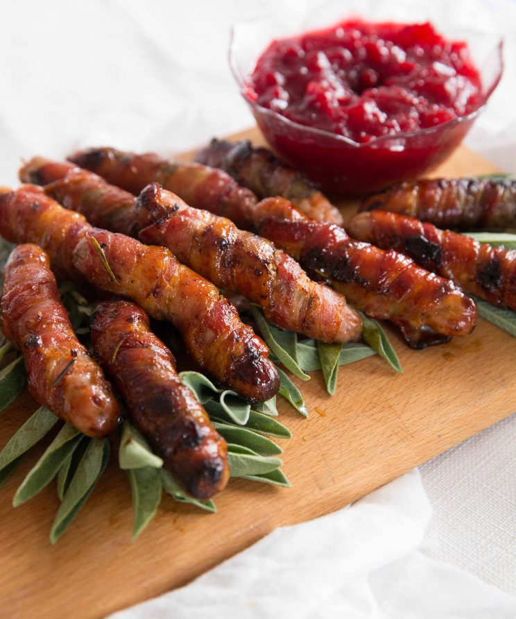 Honey Bourbon Pigs in Blankets with Sage