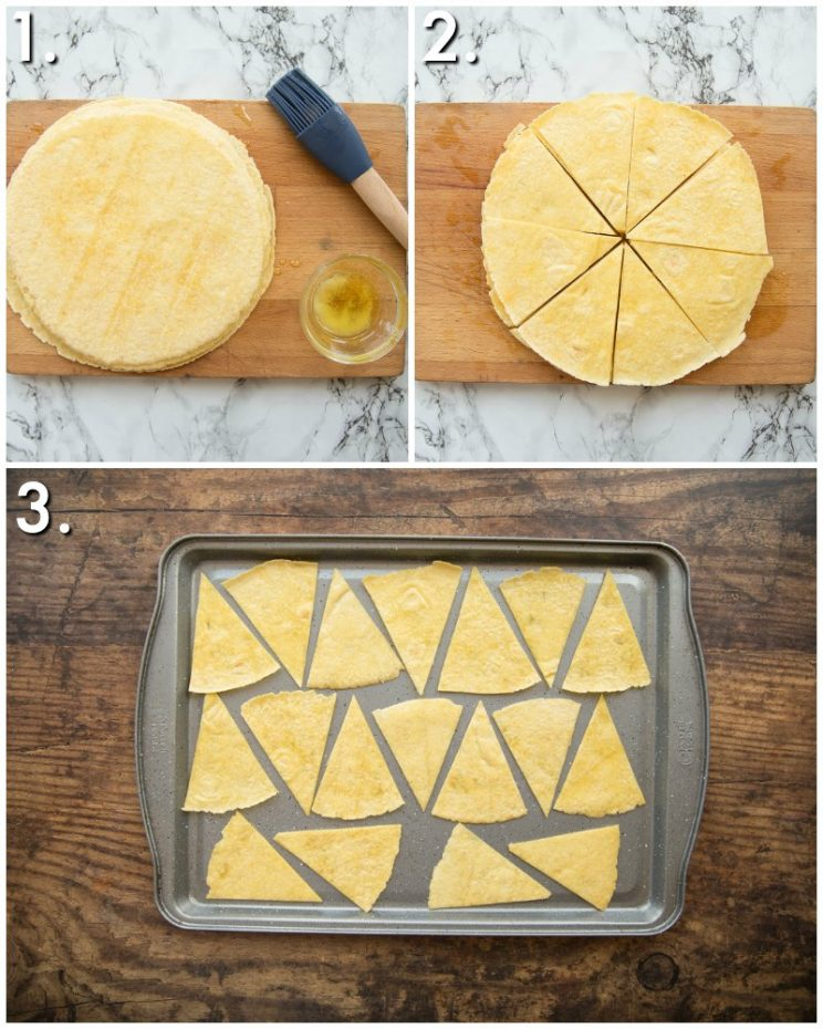 how to make tortilla chips in the oven - 3 step by step photos