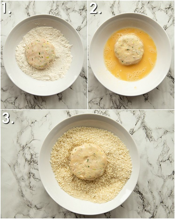 How to coat tuna patties in breadcrumbs 3 step by step photos