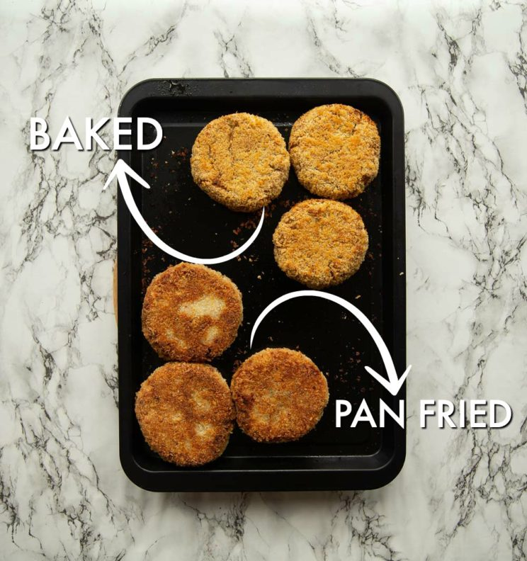 overhead shot of tuna patties on tray, half baked and other half fried