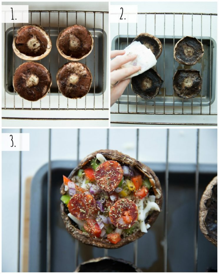 How to make Pizza Stuffed Portobello Mushrooms - step by step photos