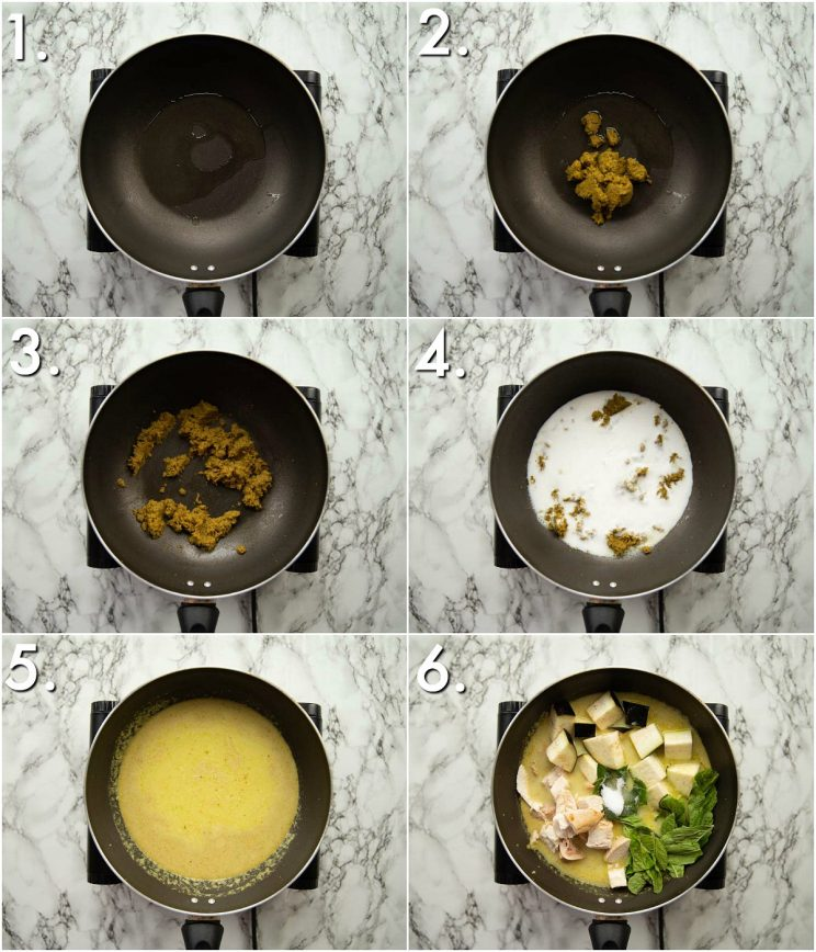 6 step by step photos showing how to make thai green curry
