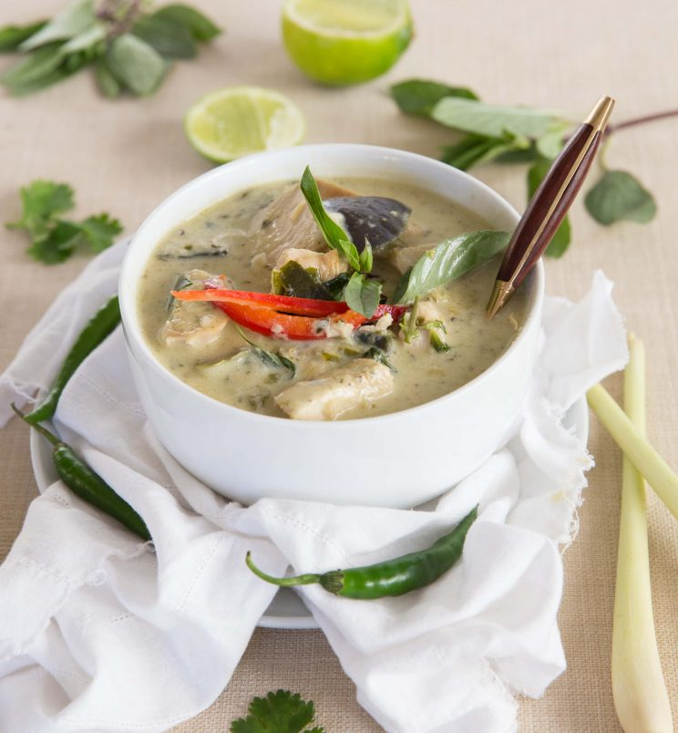 Leftover Turkey Thai Green Curry with spoon
