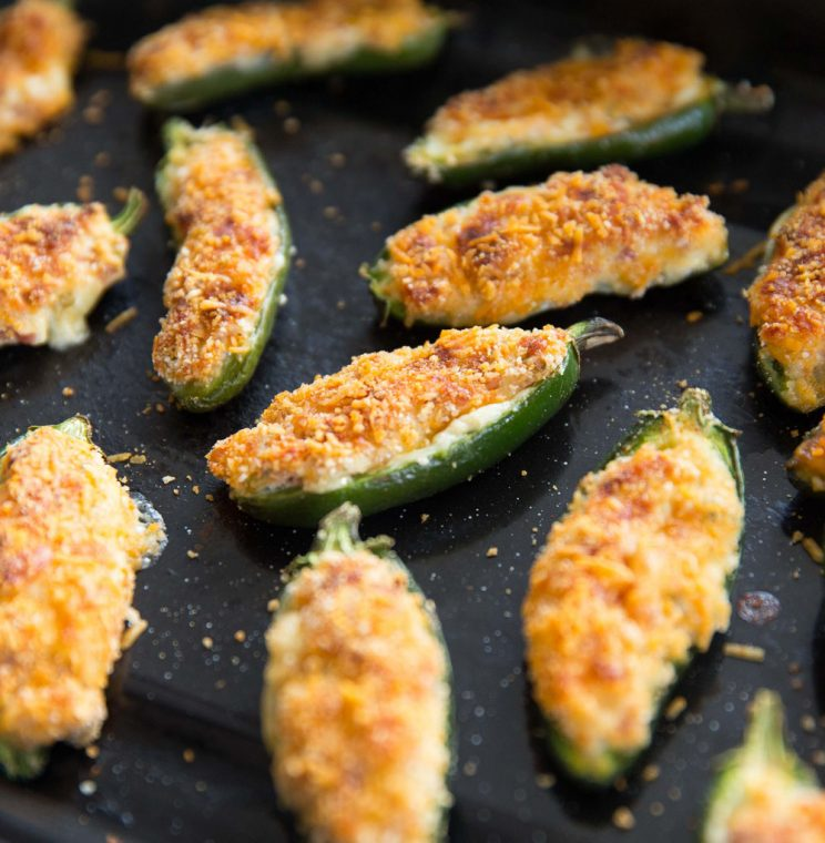 closeup shot of jalapeño popper fresh out the oven on baking tray