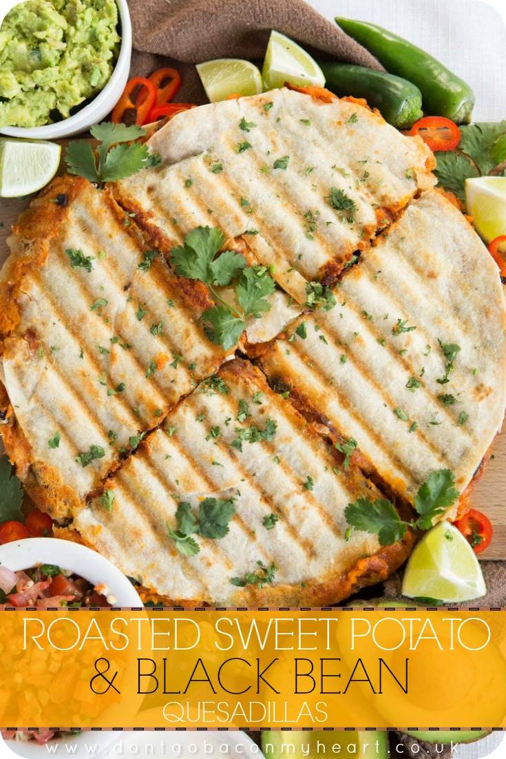 Roasted Sweet Potato and Black Bean Quesadillas are the best vegetarian quesadillas you'll ever taste. So easy to make and most importantly incredibly delicious and filling! #quesadillas #vegetarian #sweetpotato | www.dontgobaconmyheart.co.uk