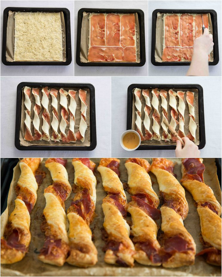 How to make cheese and prosciutto twists - 6 step by step photos