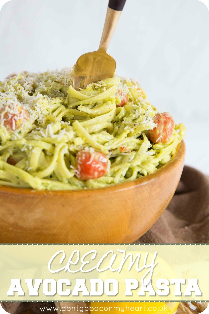 This Creamy Avocado Pasta is made even more delicious with the addition of roasted cherry tomatoes. What's best, this avocado pasta is creamy without adding cream! So quick, easy and silky smooth, you're bound to fall in love with this dish. #avocado #pasta #vegetarian | www.dontgobaconmyheart.co.uk