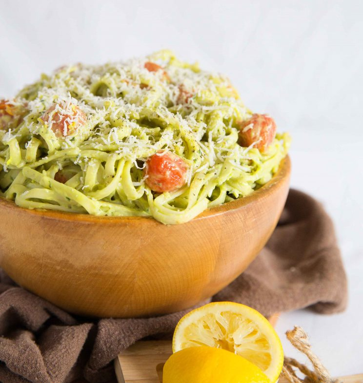 Creamy Avocado Pasta with grated parmesan