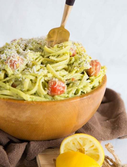 Creamy Avocado Pasta with Roasted Cherry Tomatoes