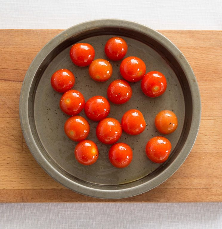 Roasted Cherry Tomatoes for Creamy Avocado Pasta