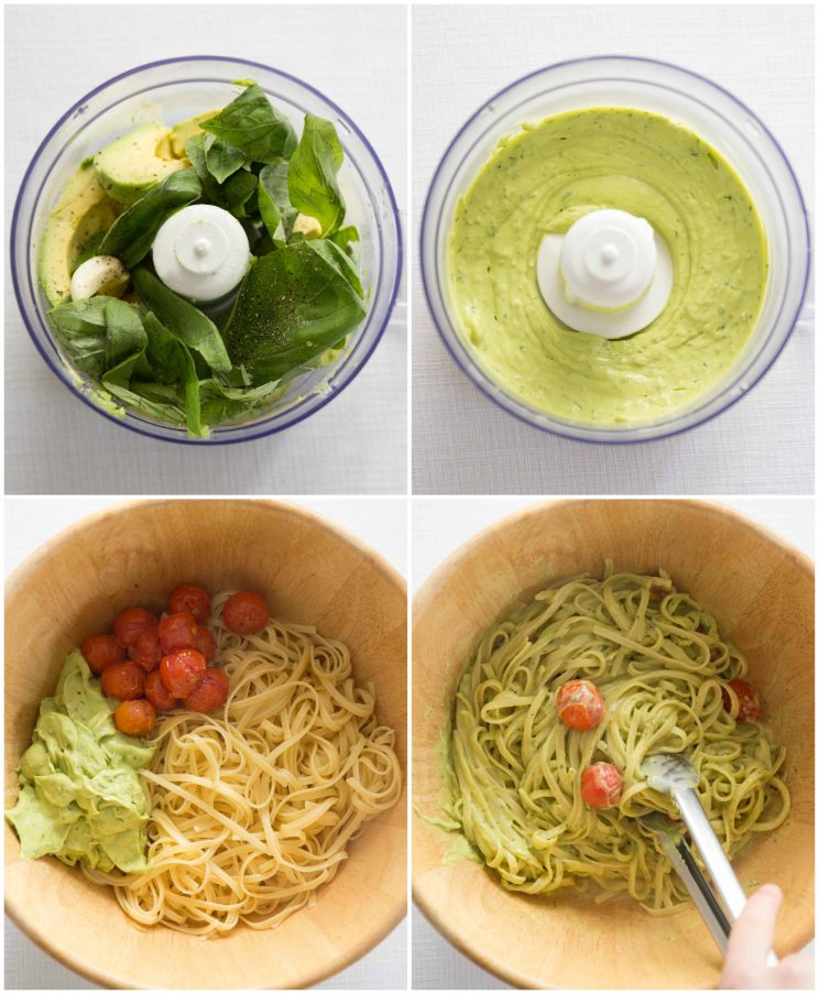 Creamy Avocado Pasta Process Shots