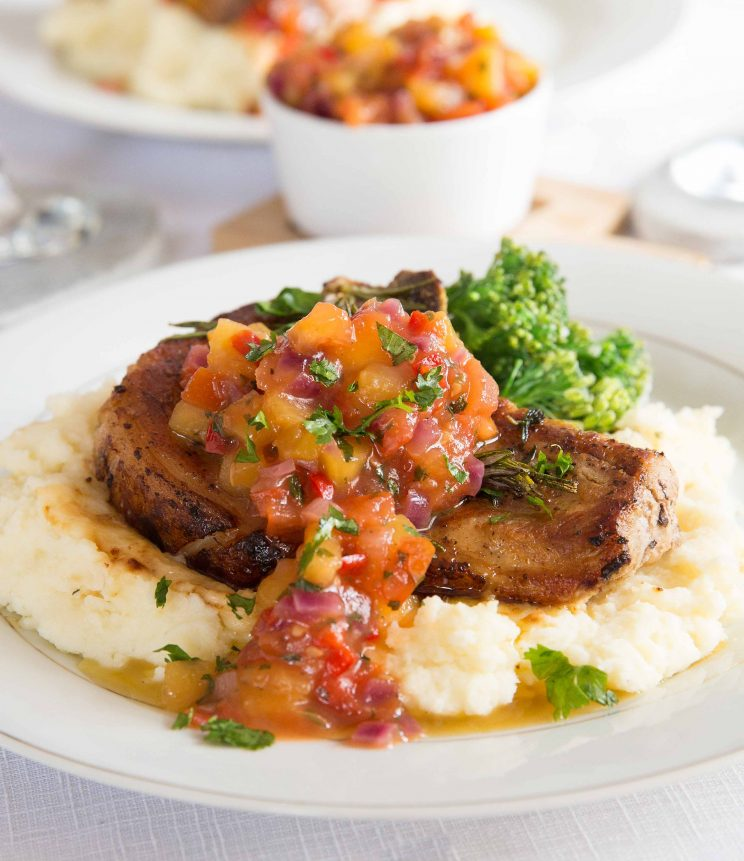 Easy Pan Fried Pork Chops with Peach Salsa Final Plating