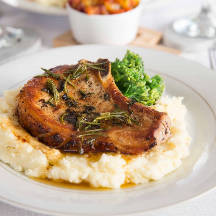 Easy Pan Fried Pork Chops with Peach Salsa with Mashed Potato