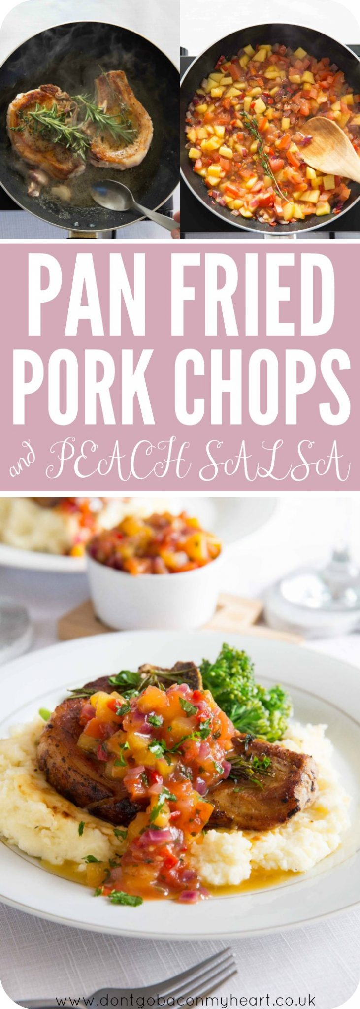 These Easy Pan Fried Pork Chops with Peach Salsa really couldn't be more quick to make. Although they make a fancy looking dinner, they're SO easy to whip up in the comfort of your own home. The PERFECT date night dinner! #pork #porkchops #salsa #peachsalsa