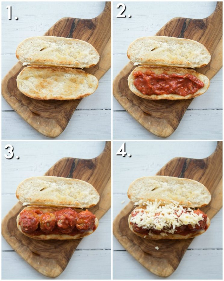 how to make a meatball sub - 4 step by step photos