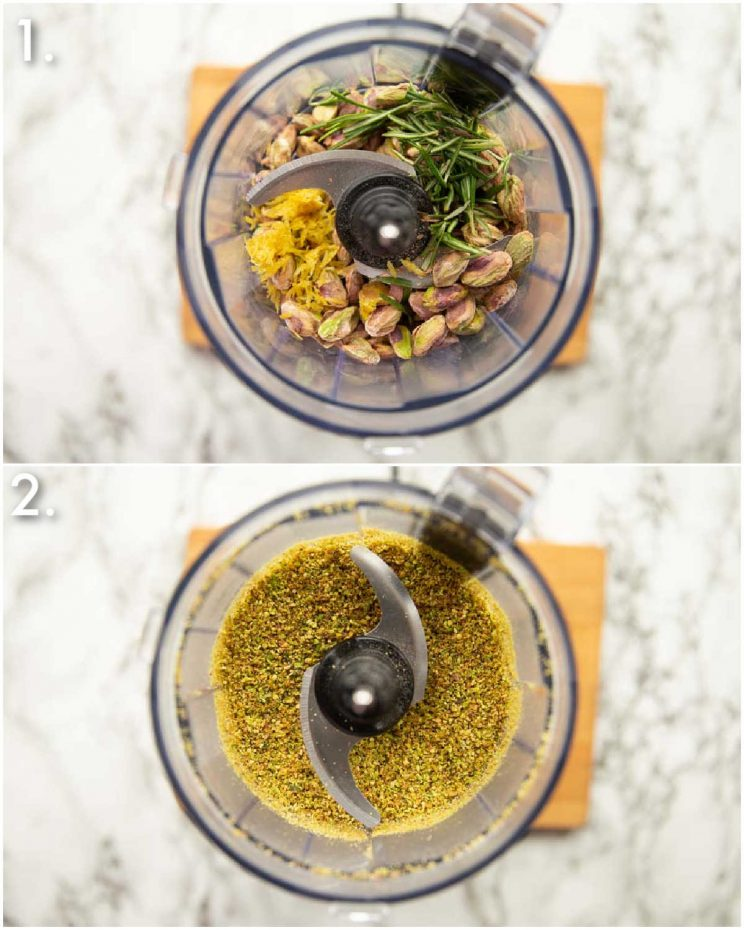 2 step by step photos showing how to make pistachio crumb