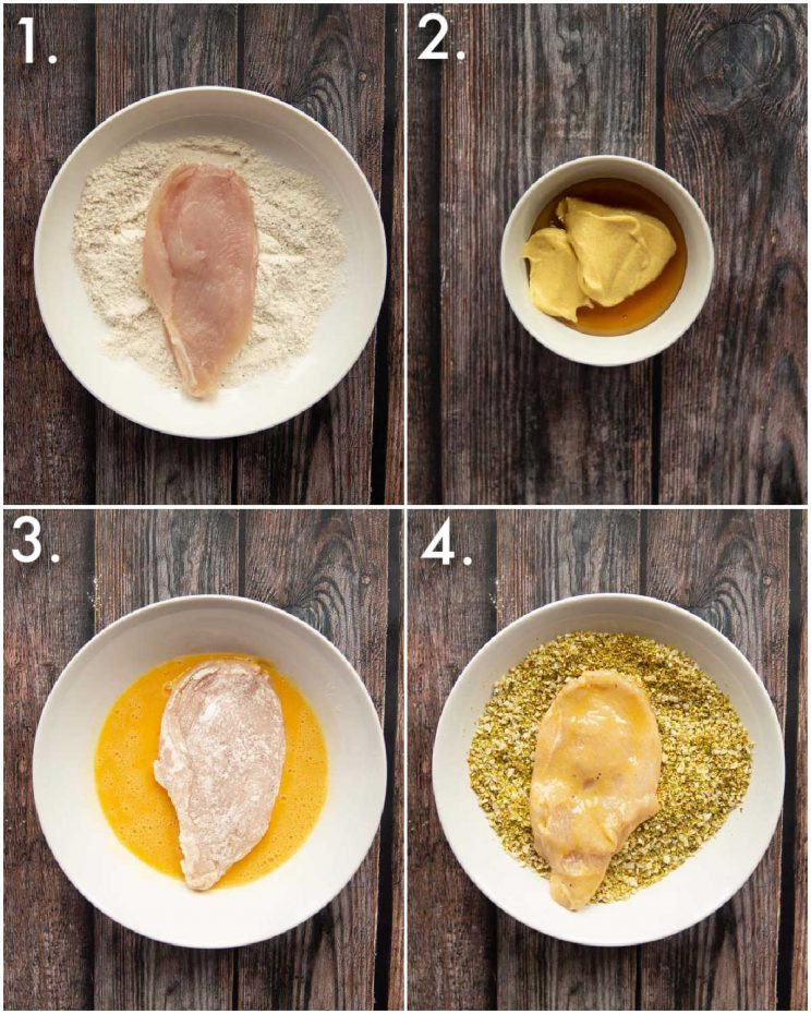 4 step by step photos showing how to make pistachio crusted chicken