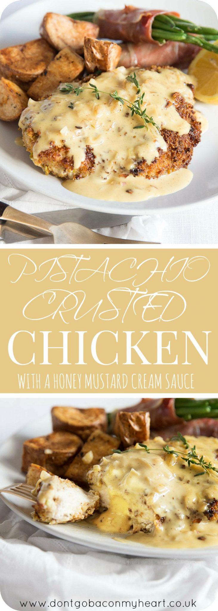 Pistachio Crusted Chicken with Honey Mustard Cream Sauce Pin