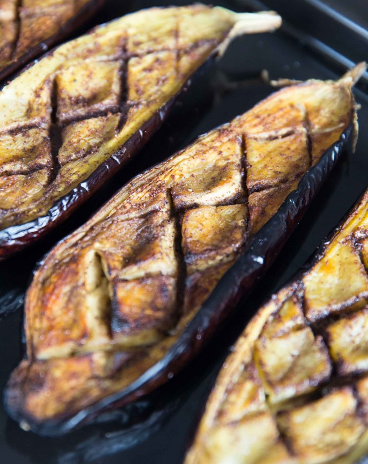 Roasted Eggplant with Tahini Yogurt Sauce Fresh out the oven