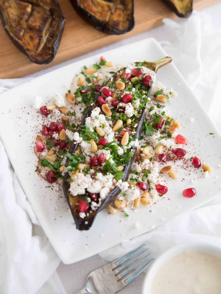 Sumac Roasted Eggplant with Tahini Yogurt Sauce and Pine nuts