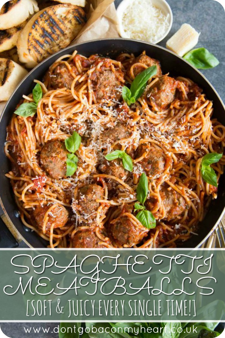 Here I share 3 incredibly simple but crucial steps to making soft and juicy meatballs. This foolproof recipe offers the most delicious spaghetti and melt in your mouth meatballs you'll ever taste! #meatballs #spaghetti #spaghettimeatballs | www.dontgobaconmyheart.co.uk