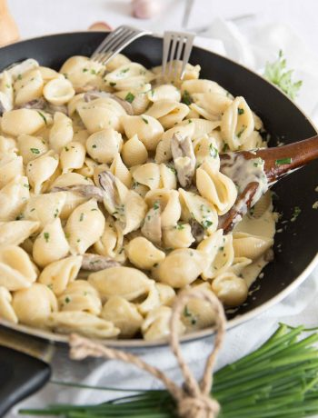 Creamy Mushroom Pasta in the Skillet with Fresh Chives
