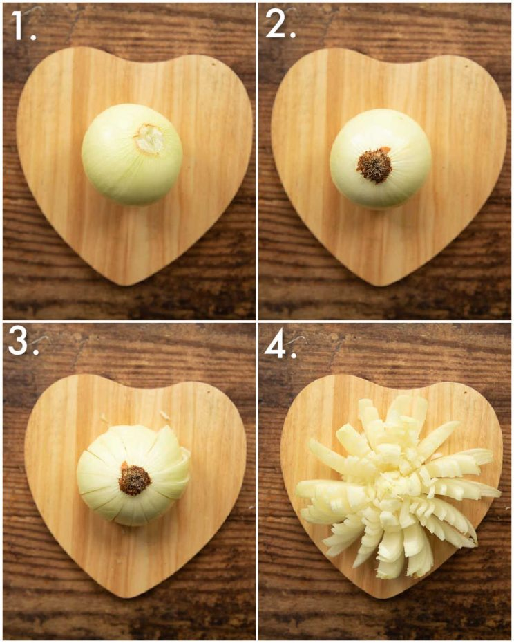4 step by step photos showing how to cut a blooming onion
