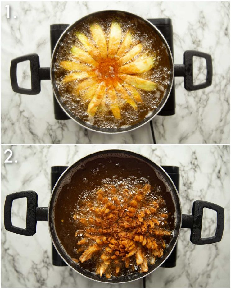 2 step by step photos showing how to fry a blooming onion