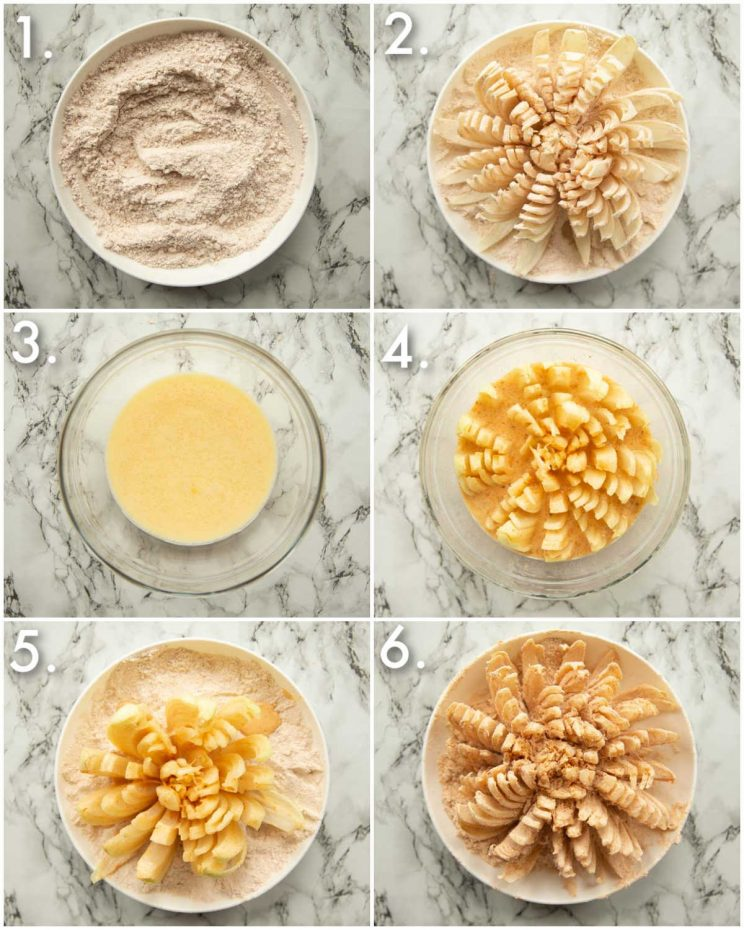 6 step by step photos showing how to make a blooming onion