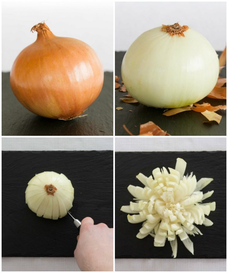 How to cut a blooming onion - process shots