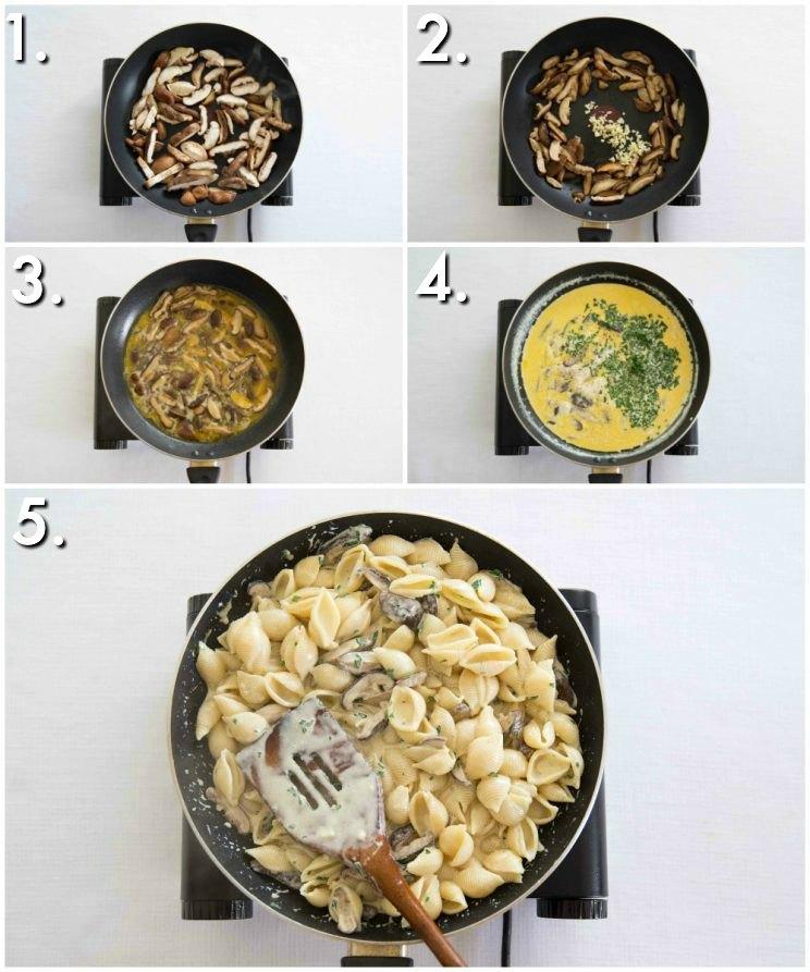 How to make Creamy Mushroom Pasta - 5 step by step photos