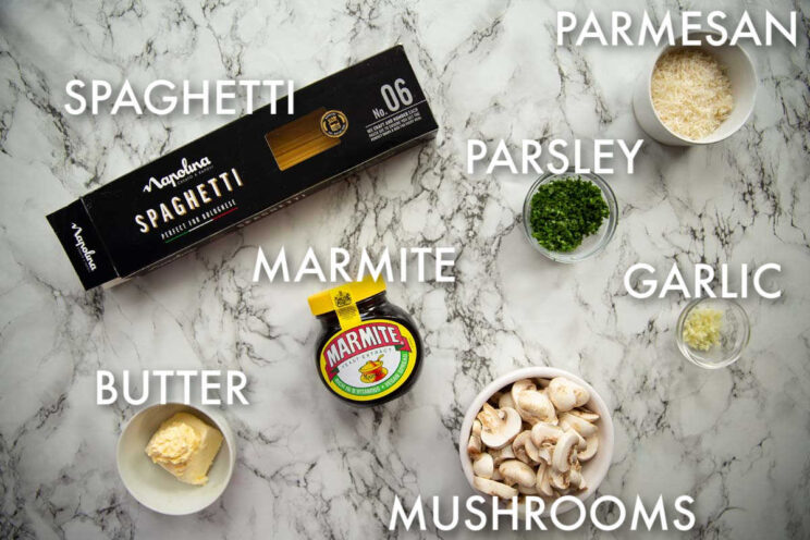 Marmite Pasta ingredients with text labels