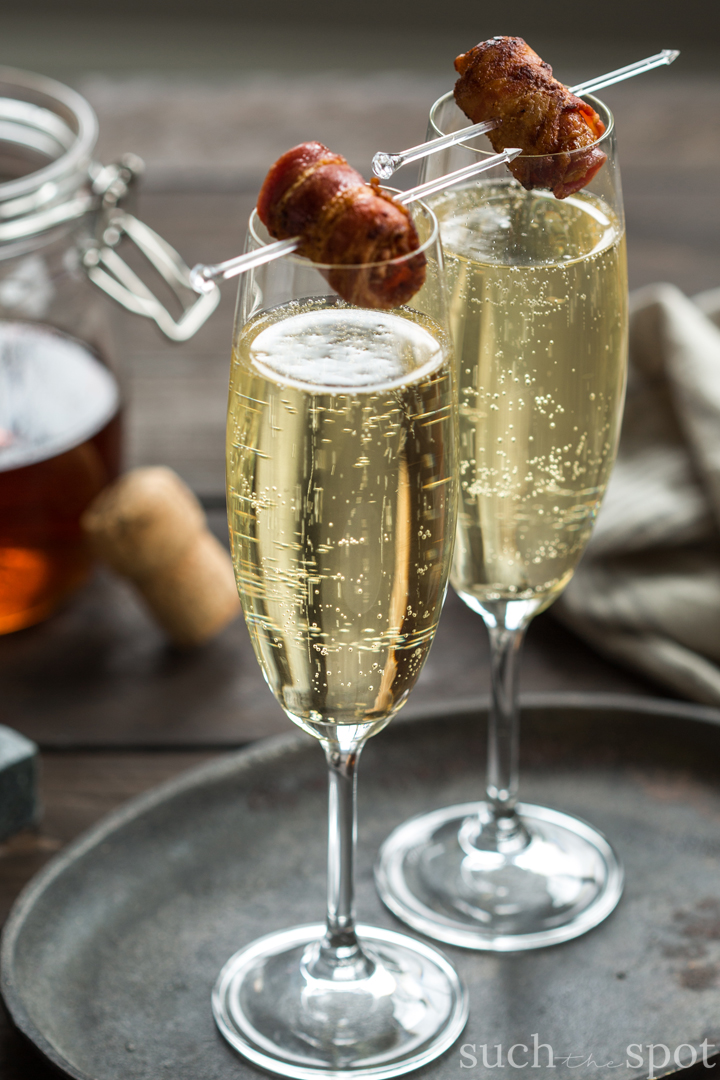 Savory Breakfast Ideas - Bacon Washed Bourbon Champagne Cocktail
