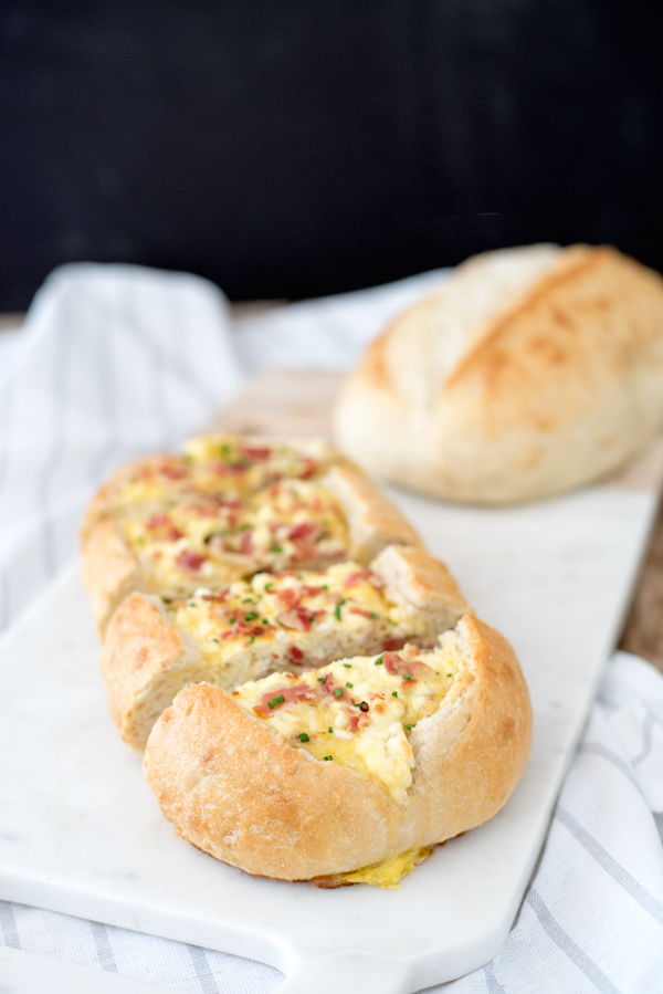 Savory Breakfast Ideas - Baked Egg Boats with Pancetta