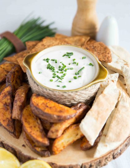 Sour Cream and Chive Dip with Potato Wedges, Pitta Bread and Tortilla Chips