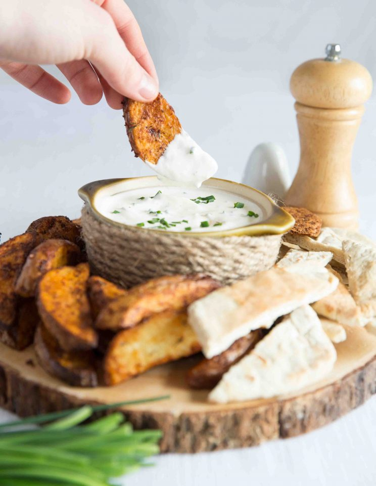 Sour Cream and Chive Dip with Oven Baked potato Wedges