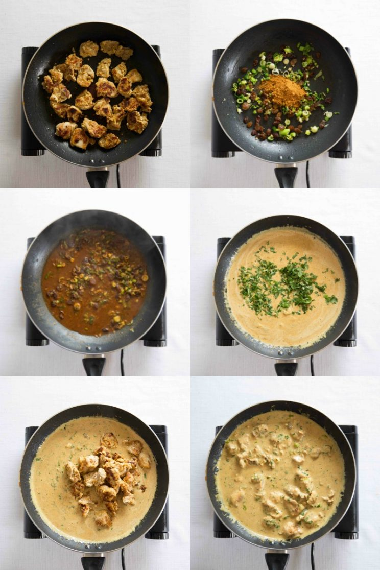 Coronation Chicken pan frying process shots