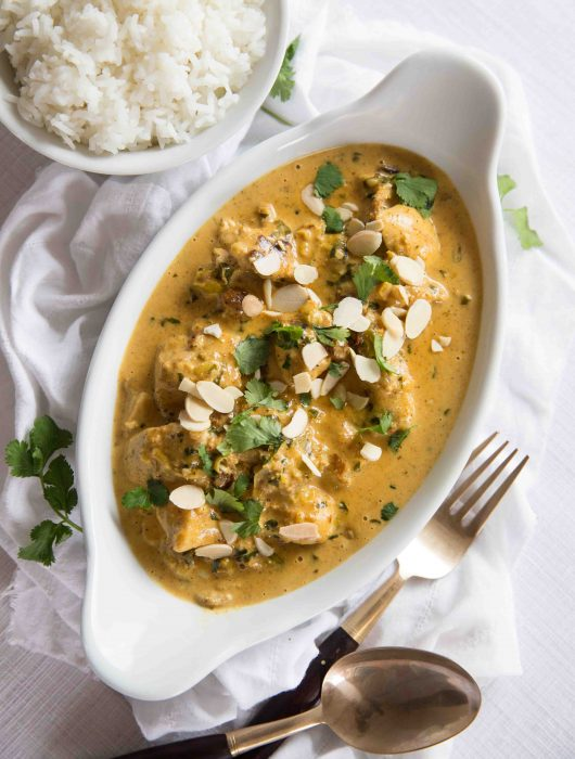 Overhead shot Coronation Chicken Recipe with rice