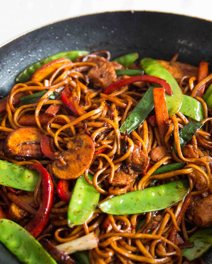 Chicken Noodle Stir Fry in the wok close up