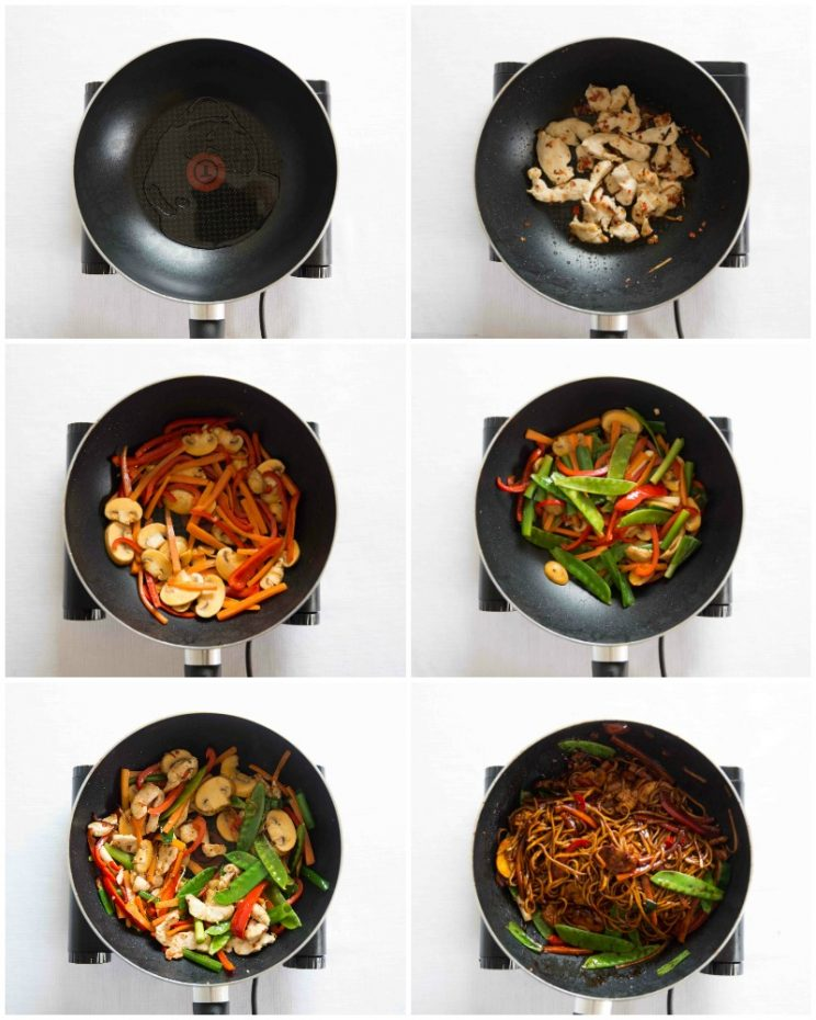 How to make chicken noodle stir fry process shots