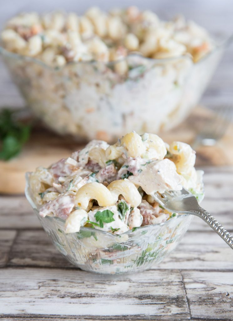 Chicken Bacon Ranch Pasta Salad with fork