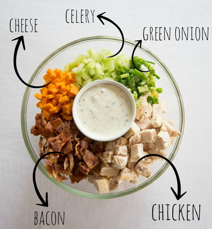 Chicken Bacon Ranch Pasta Salad ingredients