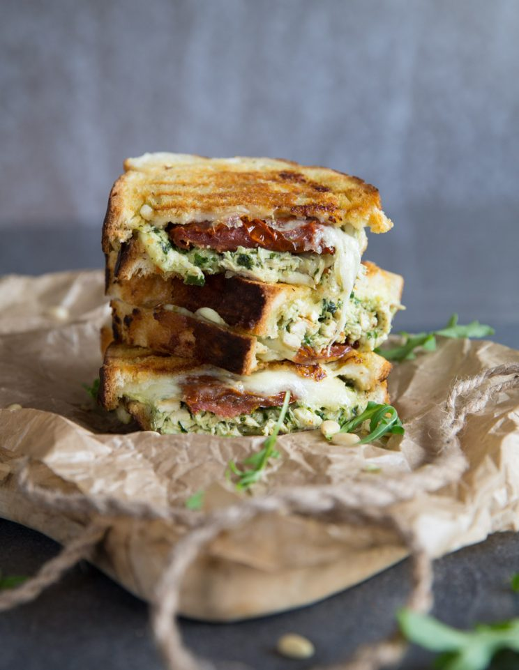 Chicken Pesto Grilled Cheese with rocket and pine nuts