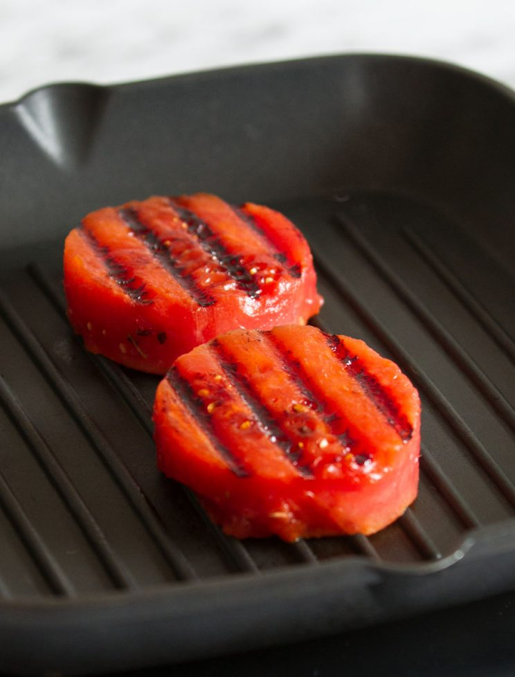 watermelon on griddle pan with grill marks