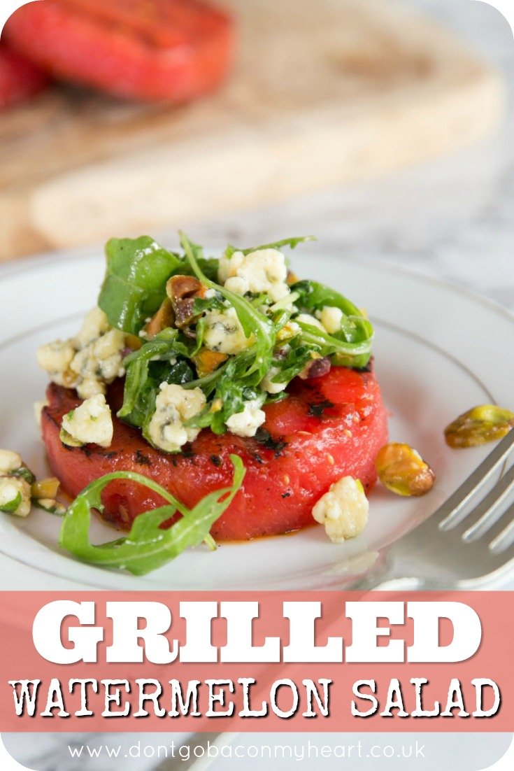 This Grilled Watermelon Salad is absolutely bursting with flavour. Topped with Arugula, Pistachios, Blue Cheese and a Balsamic Glaze, after trying this recipe you won't grill watermelon any other way! #watermelon #grilled #grilledwatermelon #salad | www.dontgobaconmyheart.co.uk