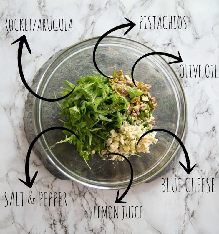 Arugula blue cheese and pistachio salad for grilled pineapple ingredients photo