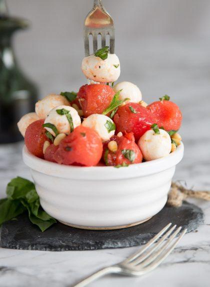 Watermelon and Mozzarella Salad balls