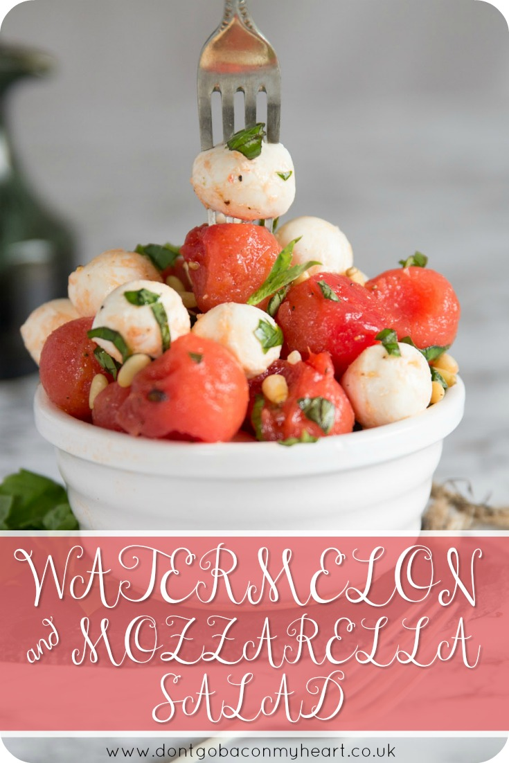 Watermelon and Mozzarella Salad is THE perfect summer salad. With the addition of some mouthwatering watermelon balls, this salad offers a gorgeous twist on the classic caprese salad. #watermelon #caprese #salad #mozzarella | www.dontgobaconmyheart.co.uk