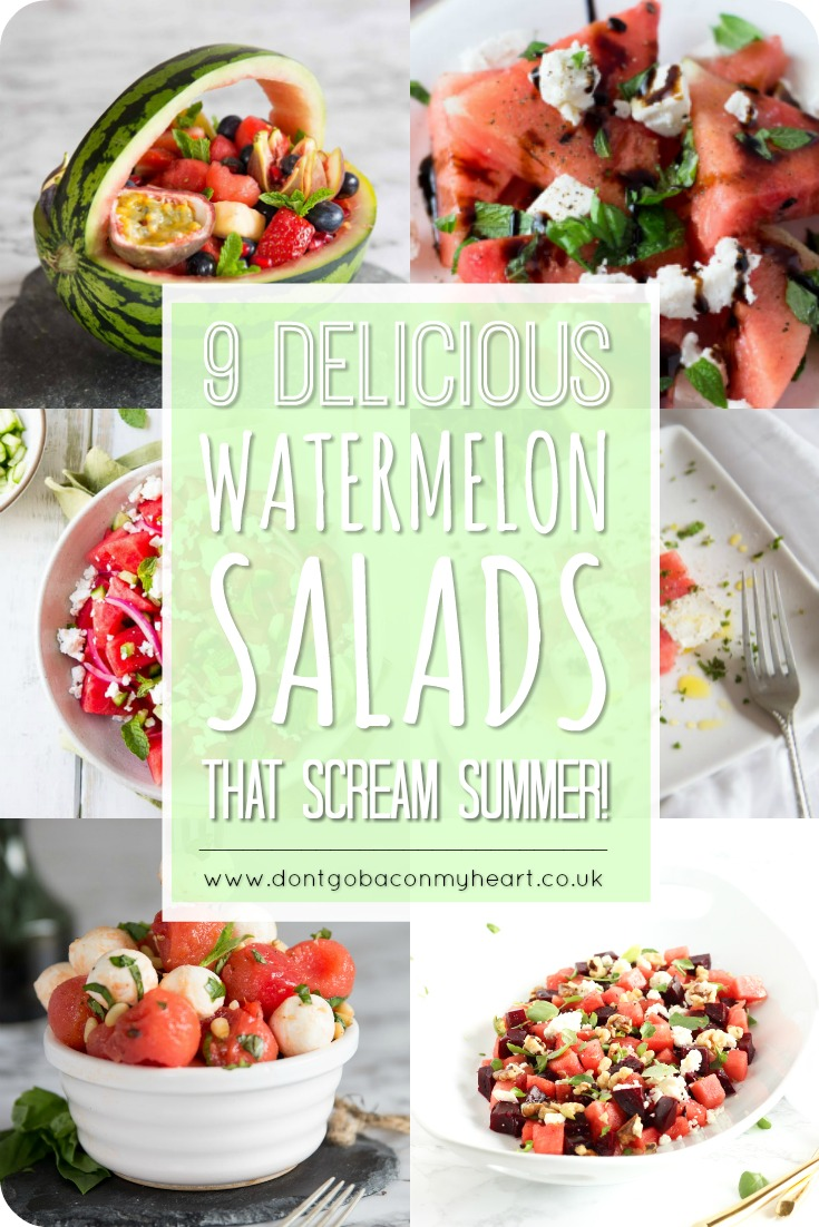 Nothing screams summer like a good watermelon salad. Join us in counting down the 9 most delicious watermelon salad recipes that'll have you drooling this summer! #watermelon #salad #watermelonsalad | www.dontgobaconmyheart.co.uk